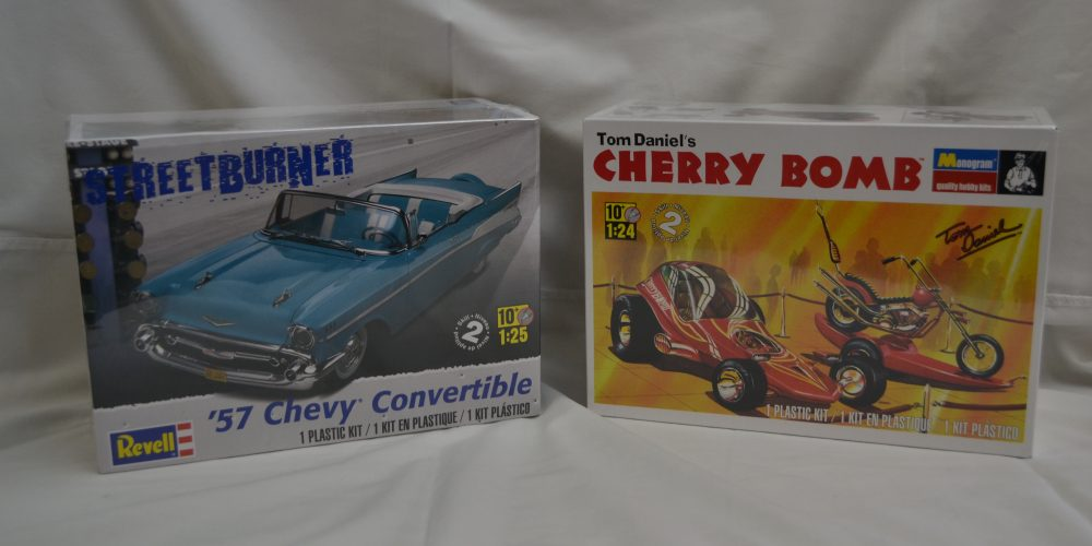 Revell and Monogram 57 Chev Conv and Cherry Bomb